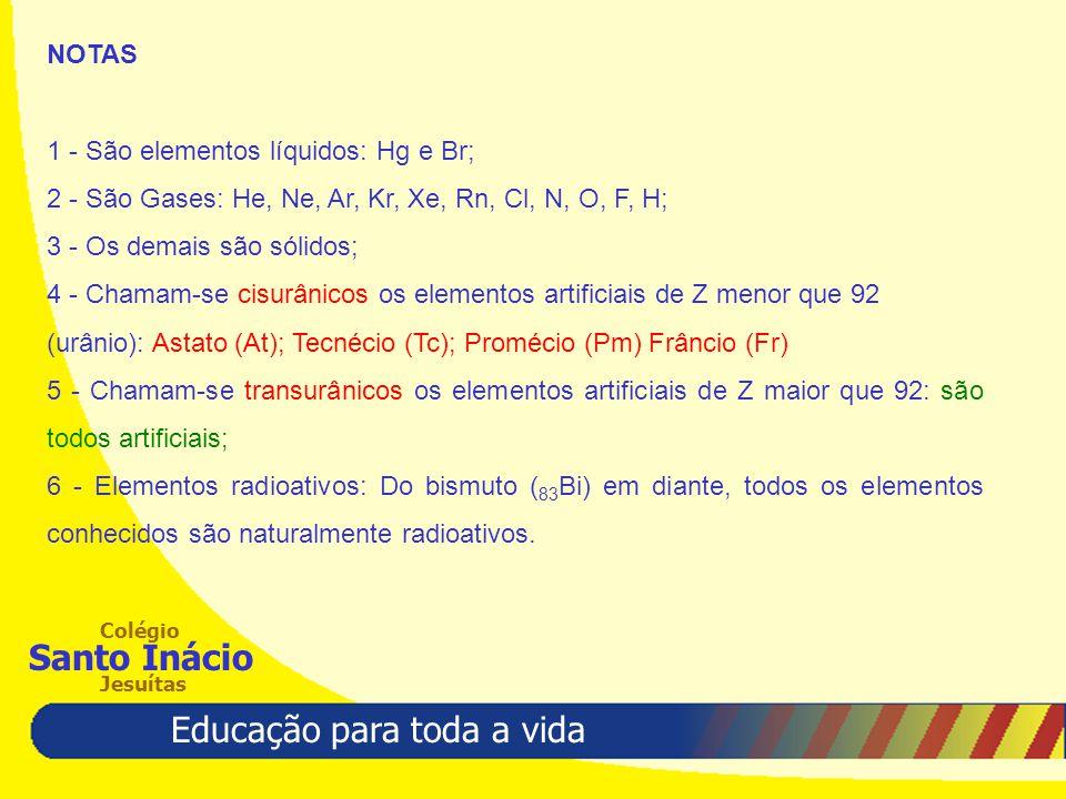 NOTAS 1 - São elementos líquidos: Hg e Br; 2 - São Gases: He, Ne, Ar, Kr, Xe, Rn, Cl, N, O, F, H; 3 - Os demais são sólidos;