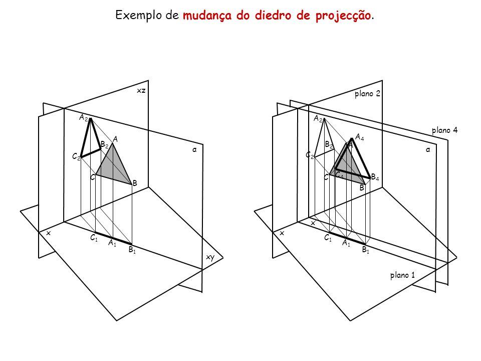 Exemplo de mudança do diedro de projecção.