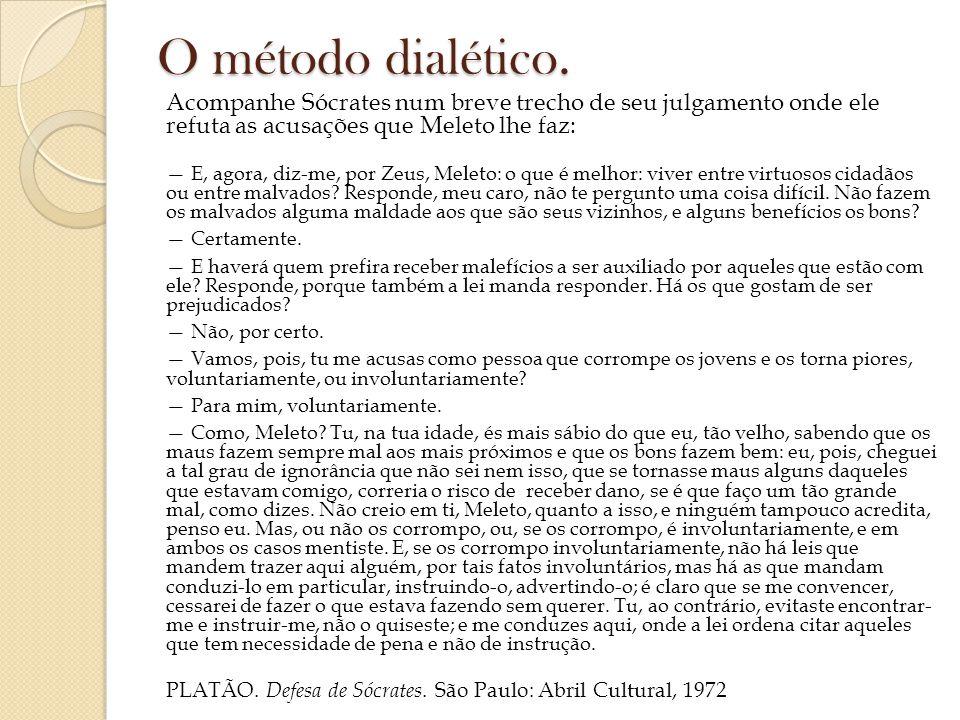 O método dialético. Acompanhe Sócrates num breve trecho de seu julgamento onde ele refuta as acusações que Meleto lhe faz: