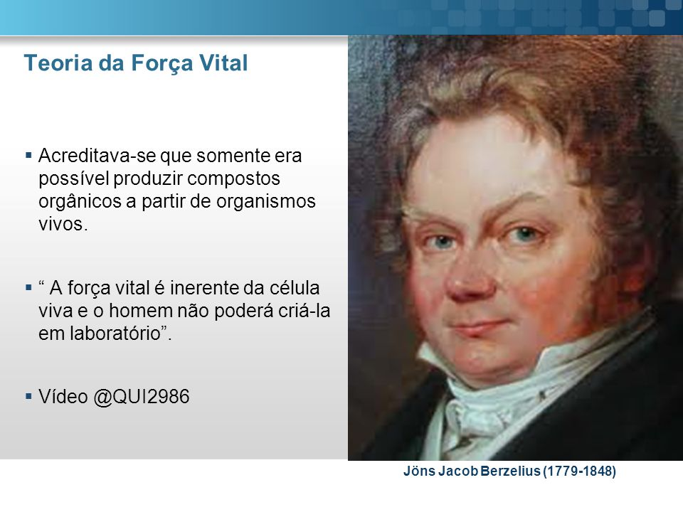 Teoria da Força Vital Acreditava-se que somente era possível produzir compostos orgânicos a partir de organismos vivos.