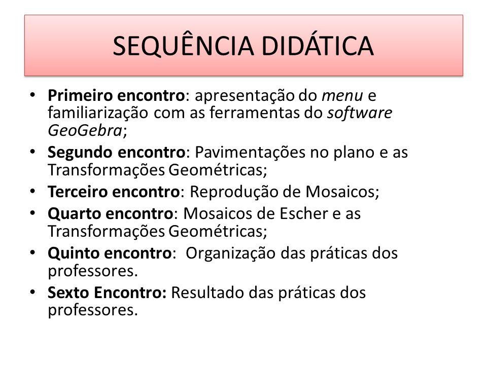 SEQUÊNCIA DIDÁTICA Primeiro encontro: apresentação do menu e familiarização com as ferramentas do software GeoGebra;