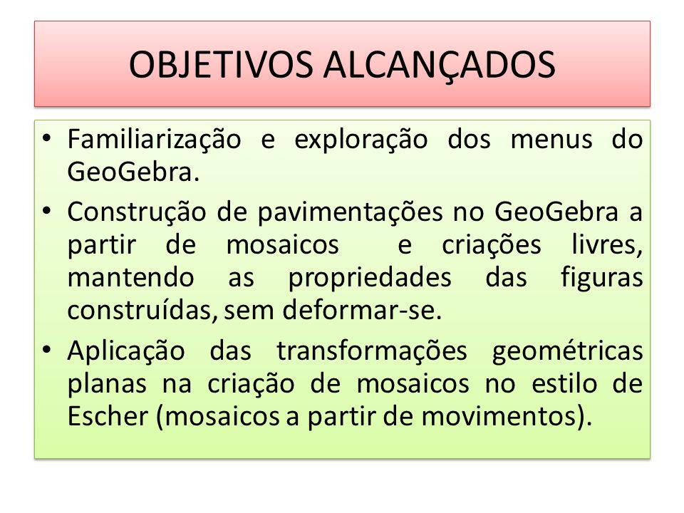 OBJETIVOS ALCANÇADOS Familiarização e exploração dos menus do GeoGebra.