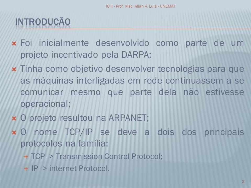 O projeto resultou na ARPANET;