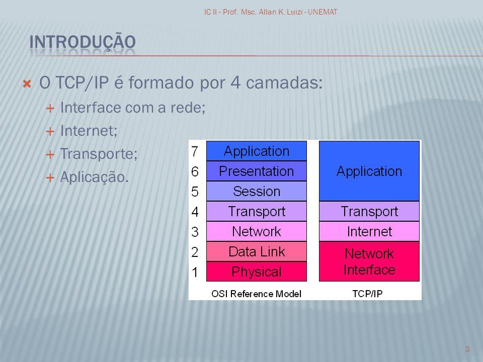 O TCP/IP é formado por 4 camadas: