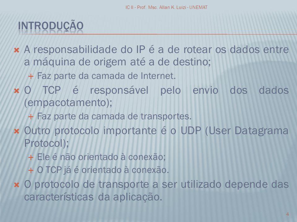 O TCP é responsável pelo envio dos dados (empacotamento);