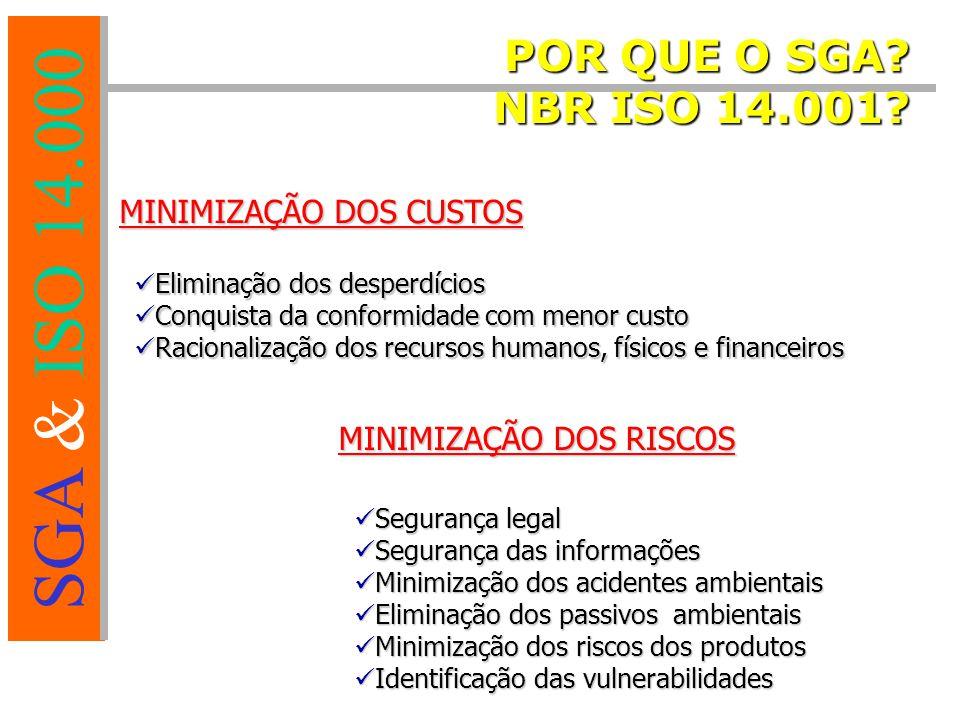 POR QUE O SGA NBR ISO 14.001 MINIMIZAÇÃO DOS CUSTOS