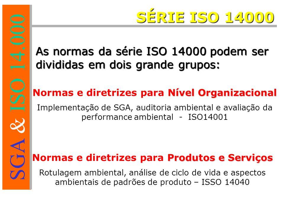 SÉRIE ISO 14000 As normas da série ISO 14000 podem ser divididas em dois grande grupos: Normas e diretrizes para Nível Organizacional.