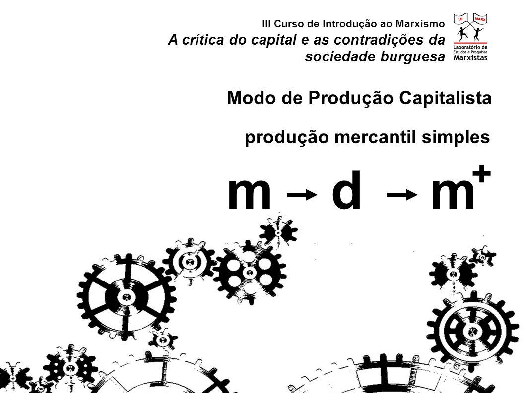 m d m + Modo de Produção Capitalista produção mercantil simples