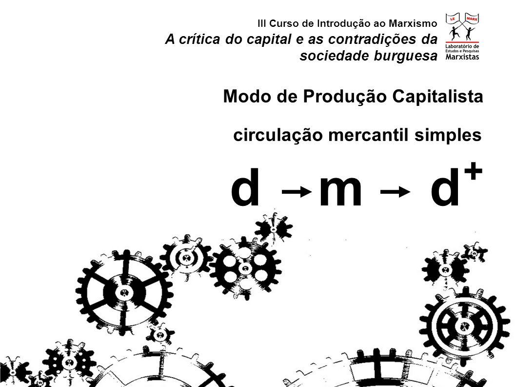 d m d + Modo de Produção Capitalista circulação mercantil simples