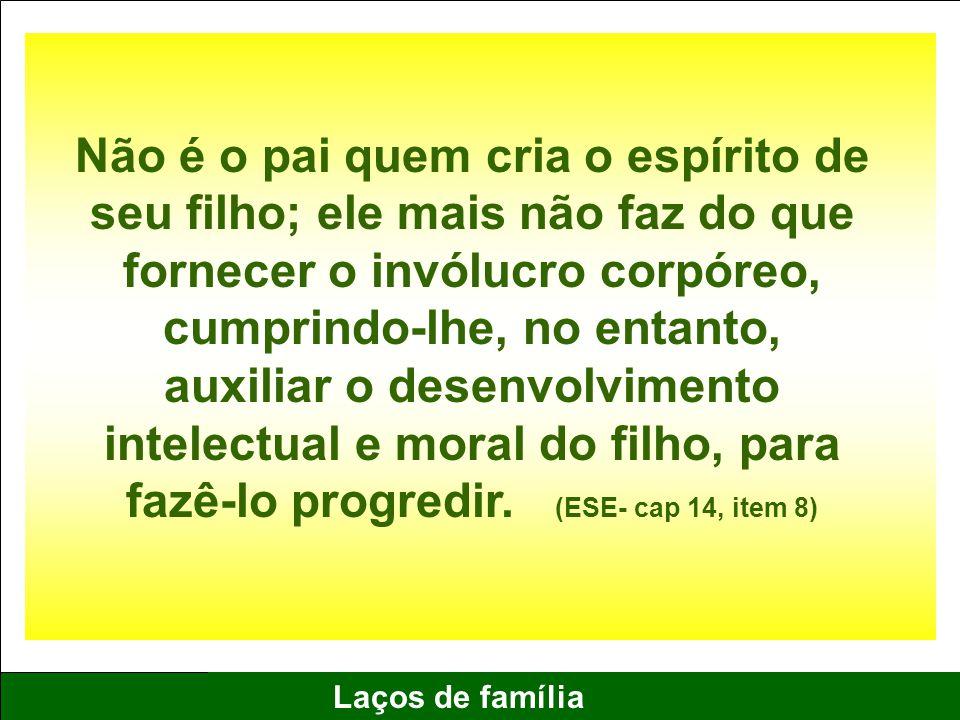 Não é o pai quem cria o espírito de seu filho; ele mais não faz do que fornecer o invólucro corpóreo, cumprindo-lhe, no entanto, auxiliar o desenvolvimento intelectual e moral do filho, para fazê-lo progredir.