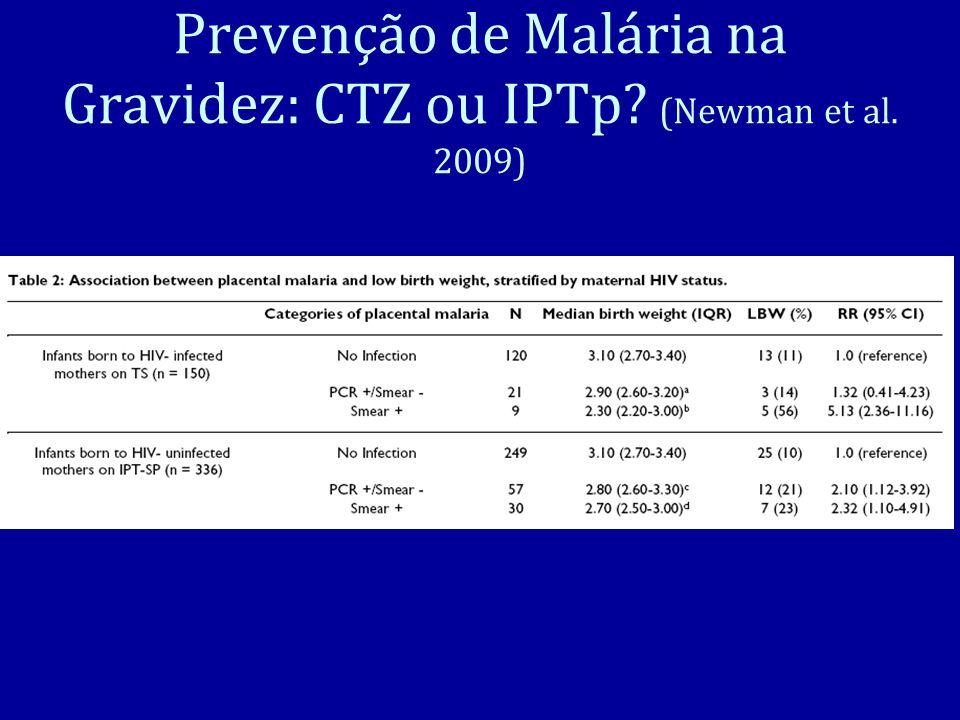 Prevenção de Malária na Gravidez: CTZ ou IPTp (Newman et al. 2009)