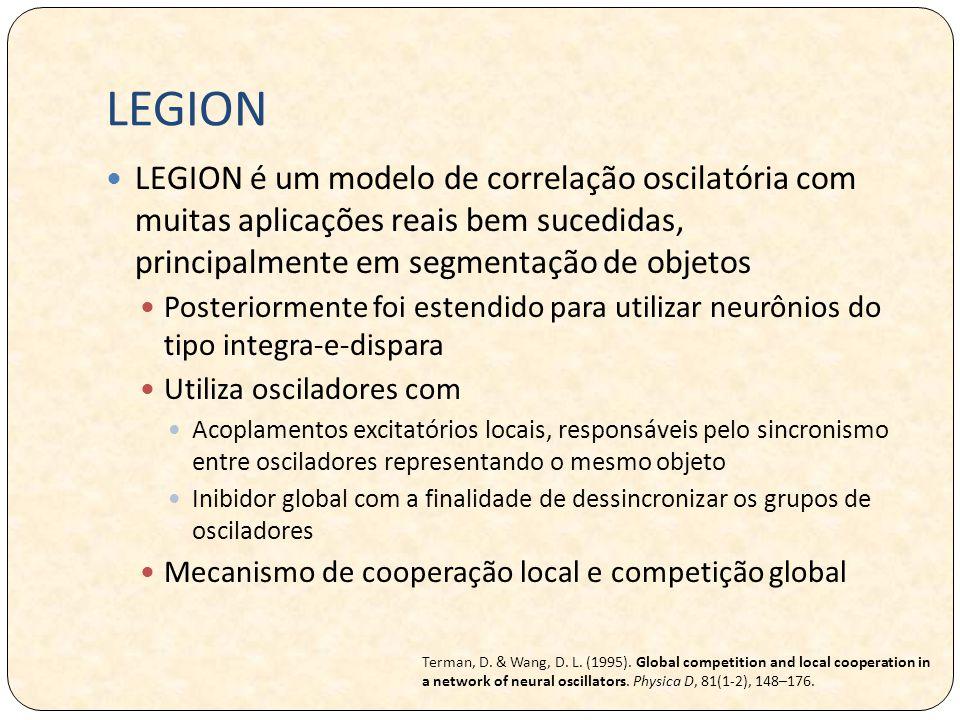 LEGION LEGION é um modelo de correlação oscilatória com muitas aplicações reais bem sucedidas, principalmente em segmentação de objetos.