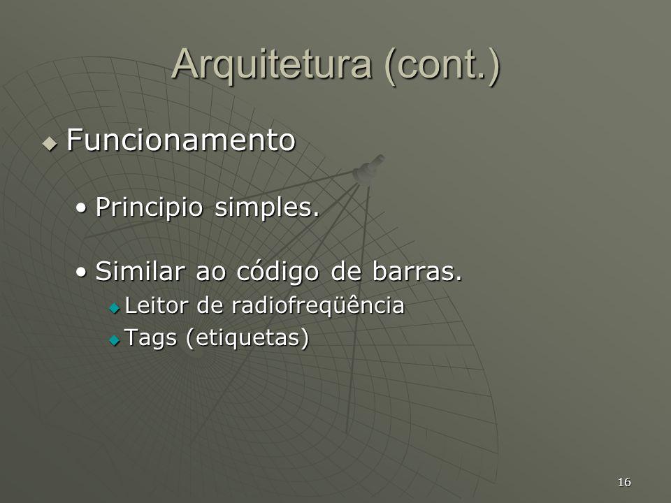 Arquitetura (cont.) Funcionamento Principio simples.