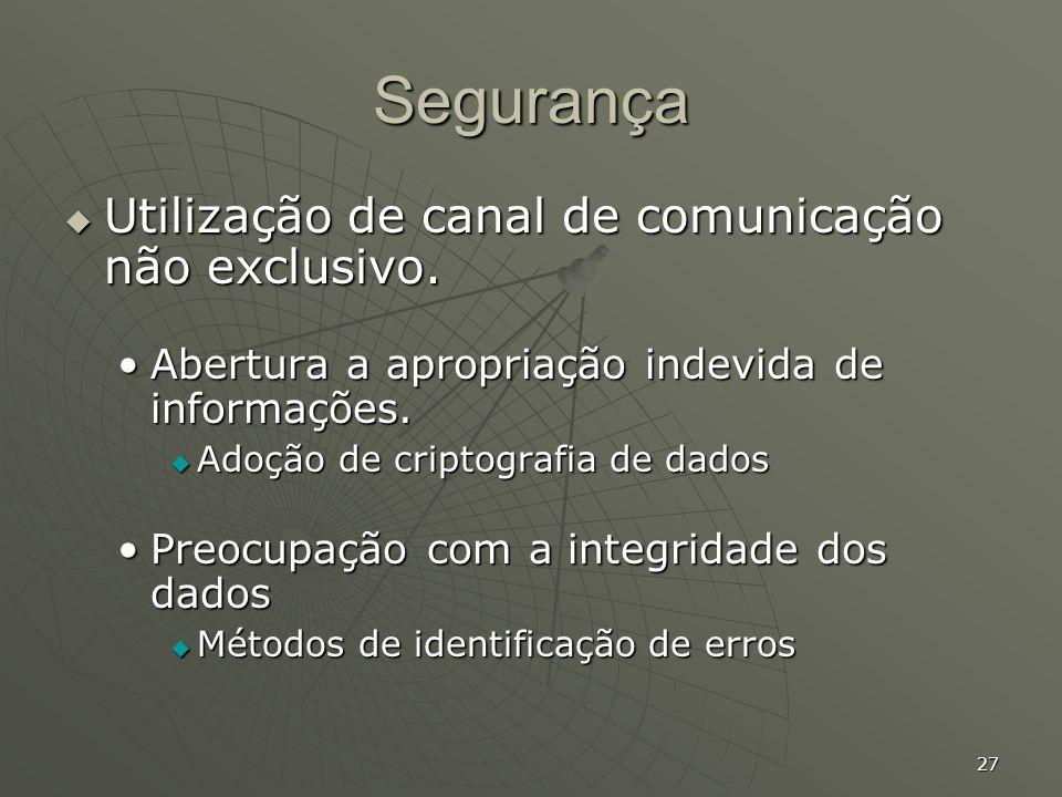 Segurança Utilização de canal de comunicação não exclusivo.