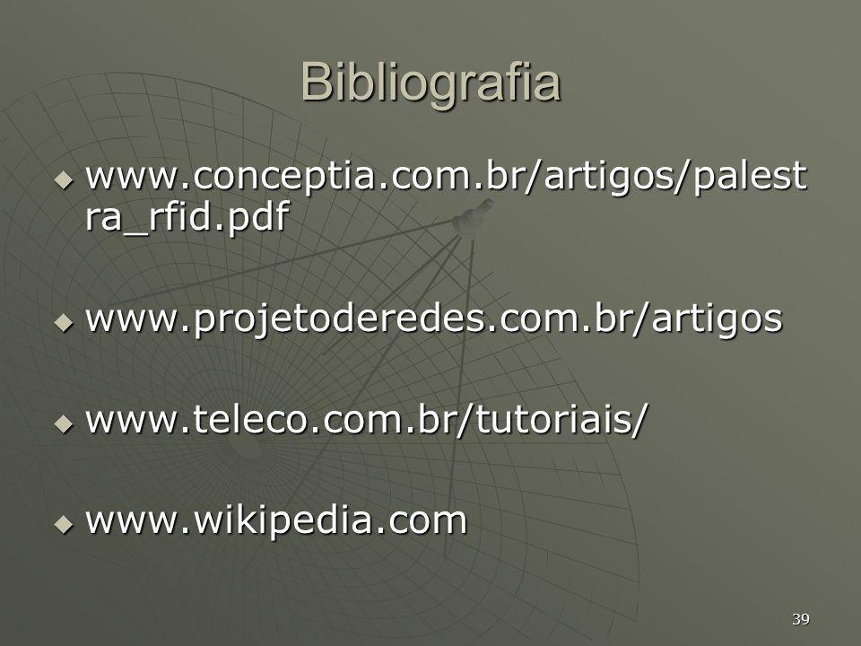 Bibliografia www.conceptia.com.br/artigos/palestra_rfid.pdf