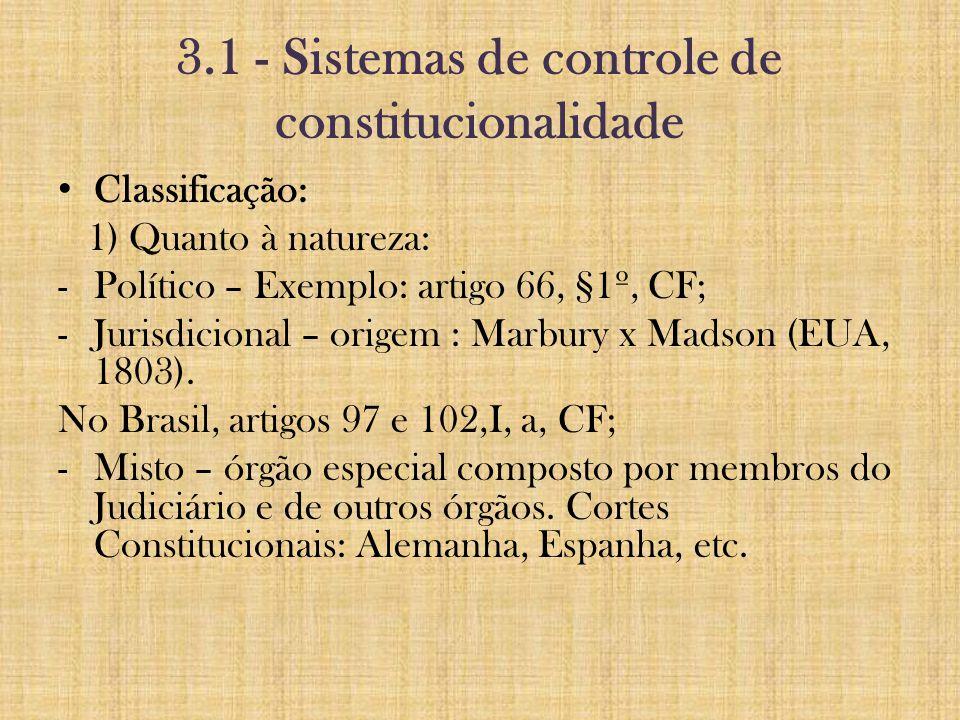 3.1 - Sistemas de controle de constitucionalidade