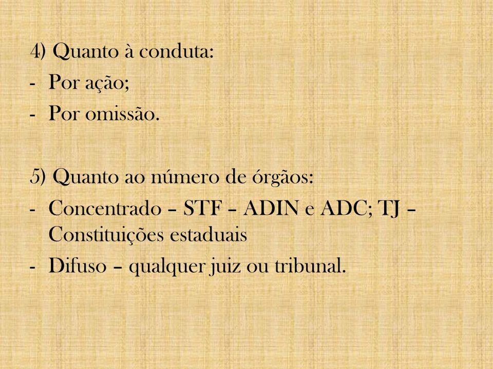4) Quanto à conduta: Por ação; Por omissão. 5) Quanto ao número de órgãos: Concentrado – STF – ADIN e ADC; TJ – Constituições estaduais.