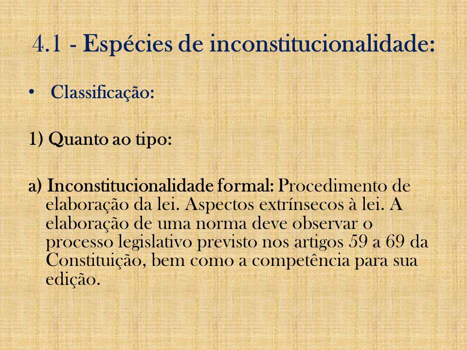 4.1 - Espécies de inconstitucionalidade: