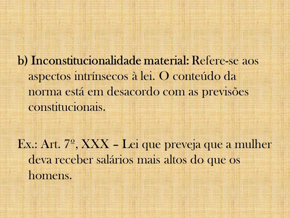 b) Inconstitucionalidade material: Refere-se aos aspectos intrínsecos à lei.