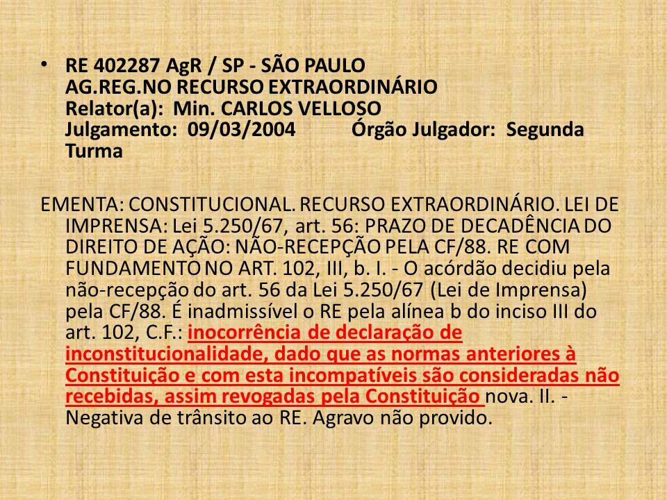 RE 402287 AgR / SP - SÃO PAULO AG. REG