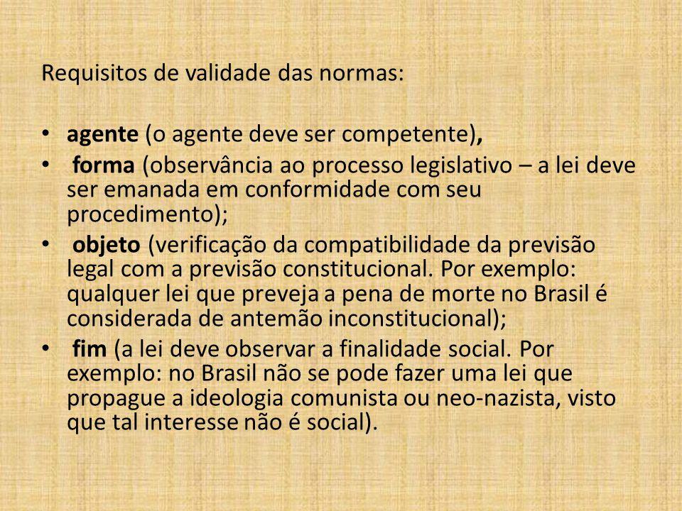 Requisitos de validade das normas:
