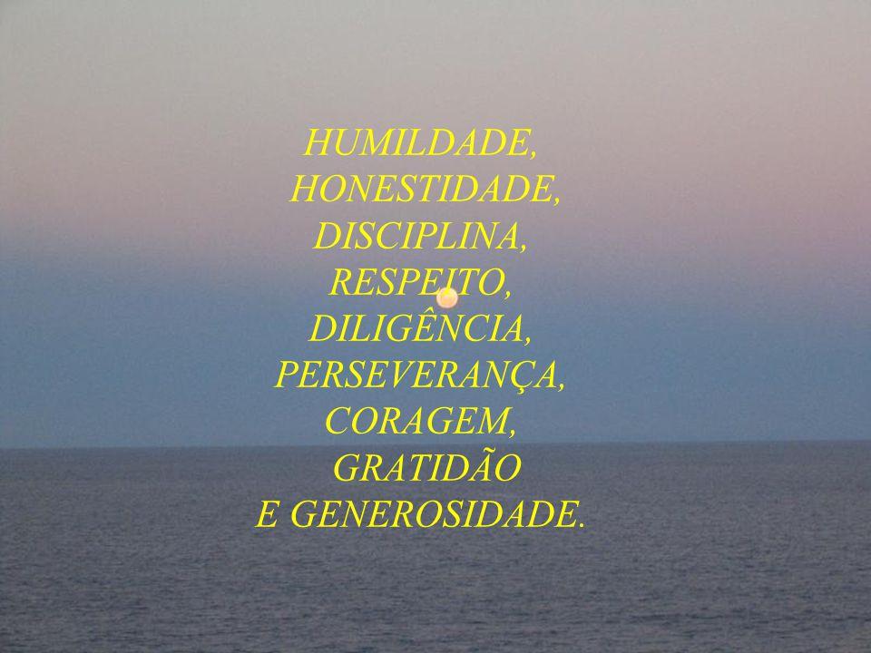 HUMILDADE, HONESTIDADE, DISCIPLINA, RESPEITO, DILIGÊNCIA, PERSEVERANÇA, CORAGEM, GRATIDÃO E GENEROSIDADE.