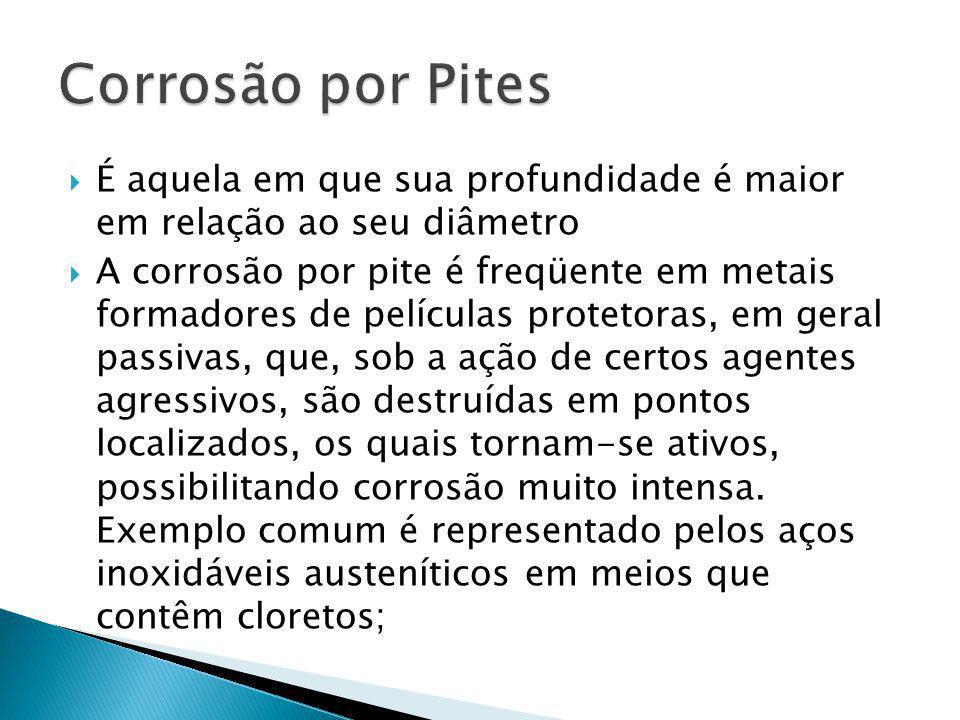Corrosão por Pites É aquela em que sua profundidade é maior em relação ao seu diâmetro.
