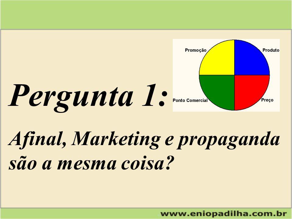 Pergunta 1: Afinal, Marketing e propaganda são a mesma coisa