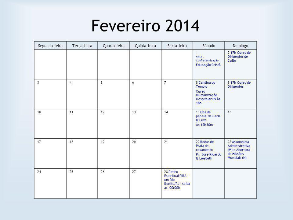 Fevereiro 2014 Segunda-feira Terça-feira Quarta-feira Quinta-feira