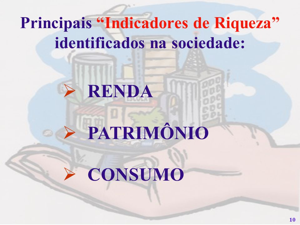 Principais Indicadores de Riqueza identificados na sociedade: