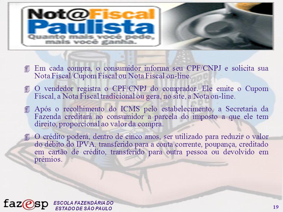 Em cada compra, o consumidor informa seu CPF/CNPJ e solicita sua Nota Fiscal/Cupom Fiscal ou Nota Fiscal on-line.