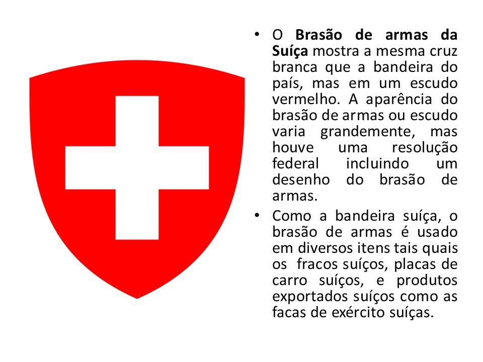 O Brasão de armas da Suíça mostra a mesma cruz branca que a bandeira do país, mas em um escudo vermelho. A aparência do brasão de armas ou escudo varia grandemente, mas houve uma resolução federal incluindo um desenho do brasão de armas.