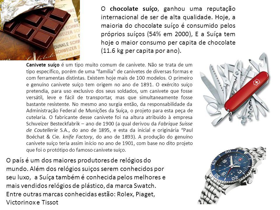 O chocolate suíço, ganhou uma reputação internacional de ser de alta qualidade. Hoje, a maioria do chocolate suíço é consumido pelos próprios suíços (54% em 2000), E a Suíça tem hoje o maior consumo per capita de chocolate (11.6 kg per capita por ano).