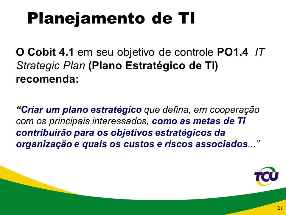 Planejamento de TI O Cobit 4.1 em seu objetivo de controle PO1.4 IT Strategic Plan (Plano Estratégico de TI) recomenda: