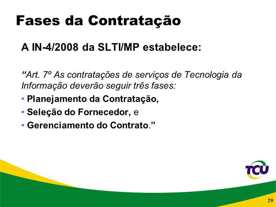 Fases da Contratação A IN-4/2008 da SLTI/MP estabelece: