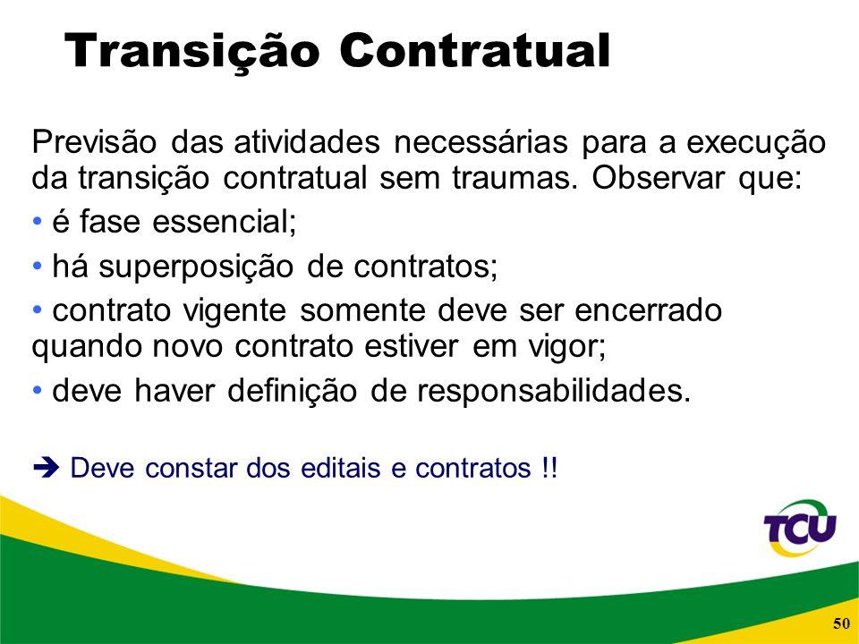 Transição Contratual Previsão das atividades necessárias para a execução da transição contratual sem traumas. Observar que:
