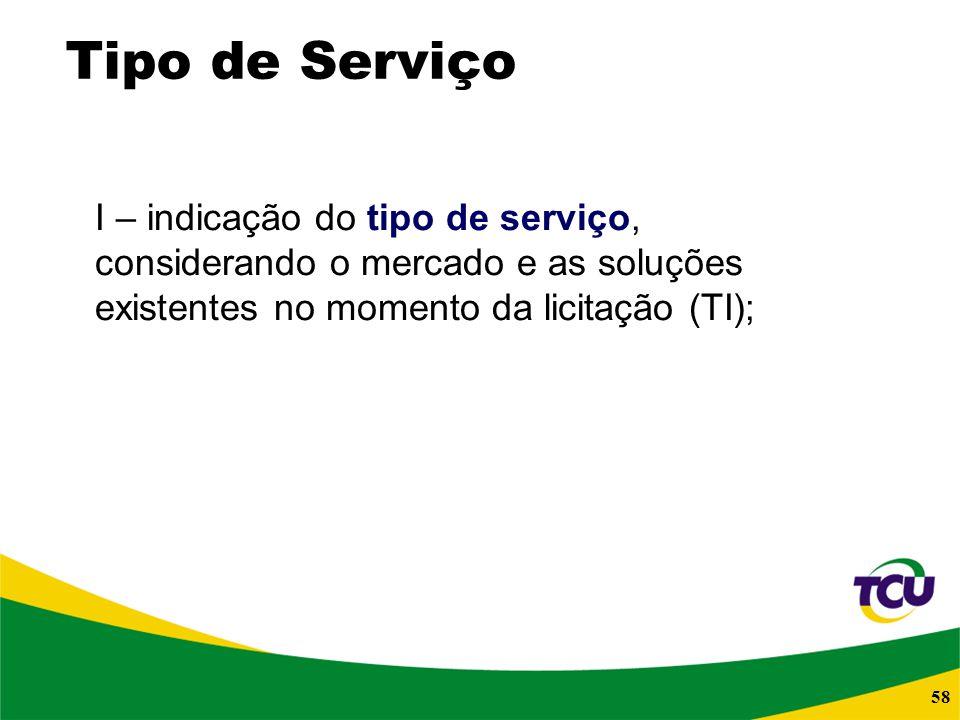 Tipo de Serviço I – indicação do tipo de serviço, considerando o mercado e as soluções existentes no momento da licitação (TI);