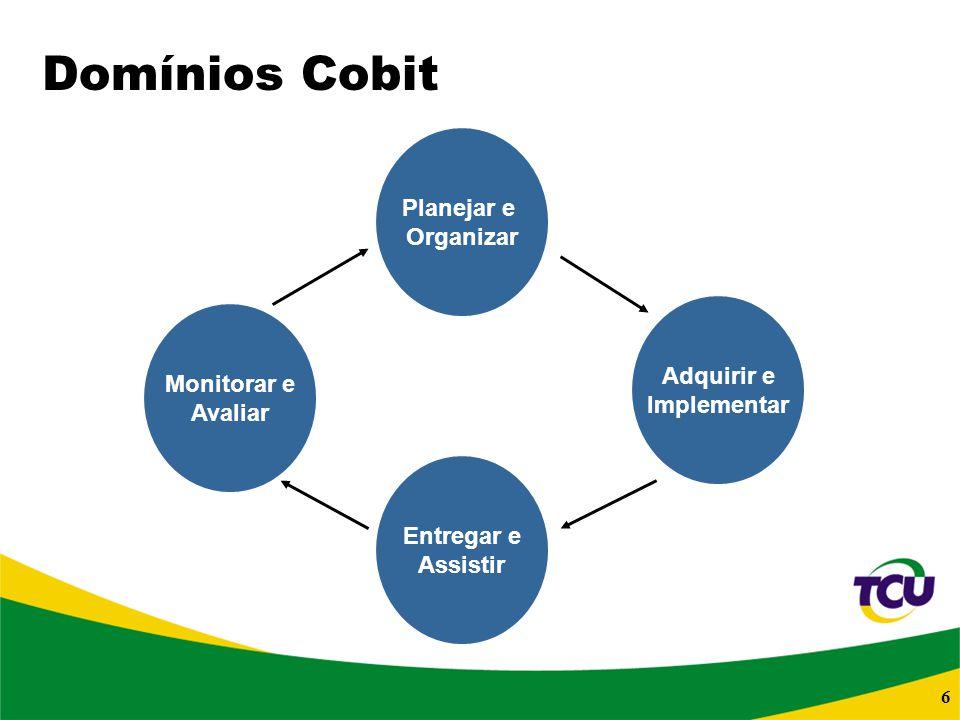 Domínios Cobit Planejar e Organizar Adquirir e Monitorar e Implementar