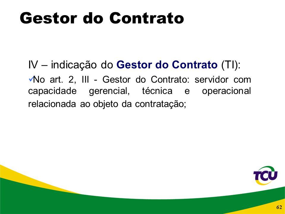 Gestor do Contrato IV – indicação do Gestor do Contrato (TI):