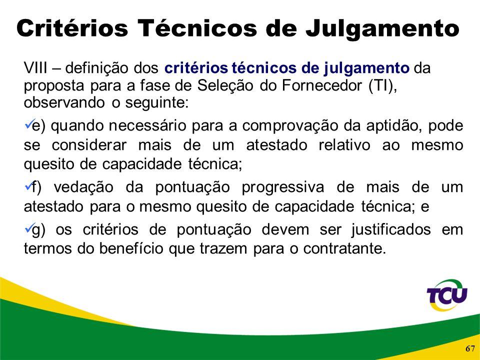 Critérios Técnicos de Julgamento