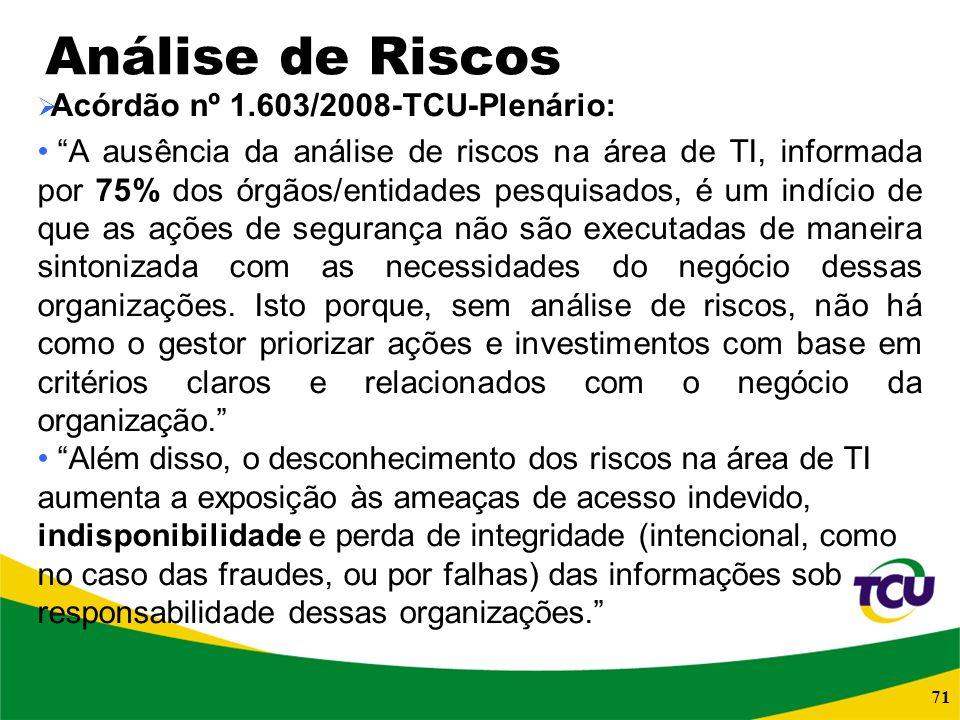 Análise de Riscos Acórdão nº 1.603/2008-TCU-Plenário: