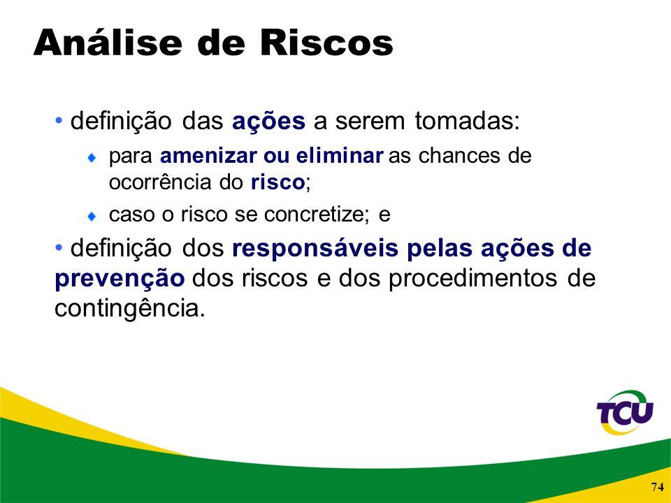 Análise de Riscos definição das ações a serem tomadas: