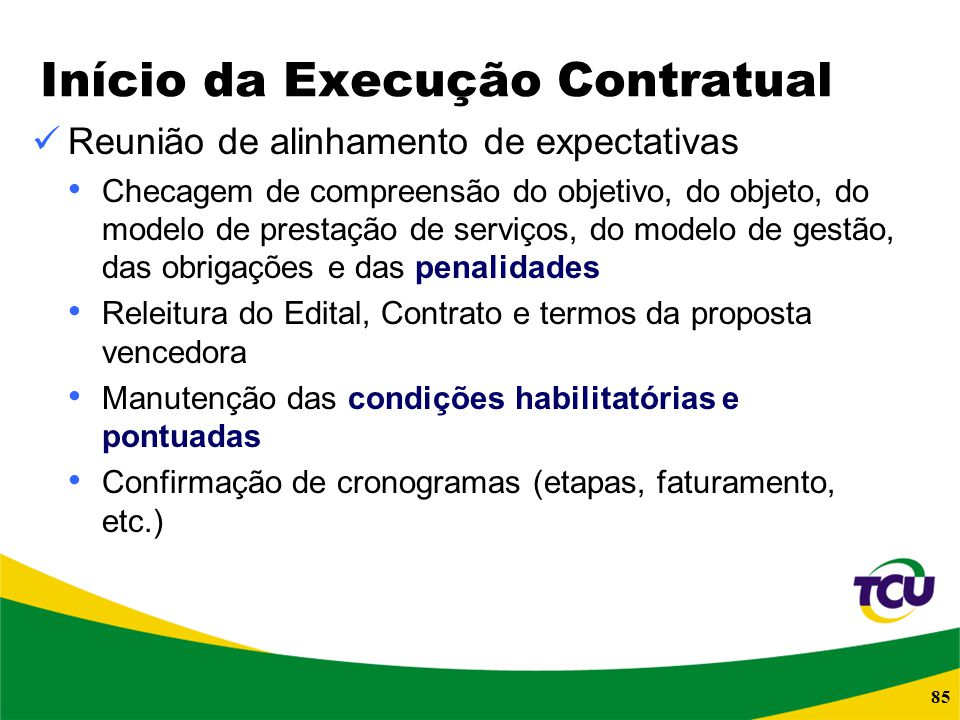 Início da Execução Contratual