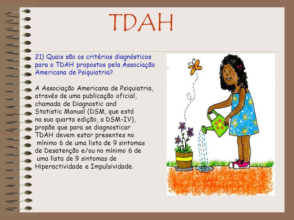 TDAH 21) Quais são os critérios diagnósticos para o TDAH propostos pela Associação Americana de Psiquiatria