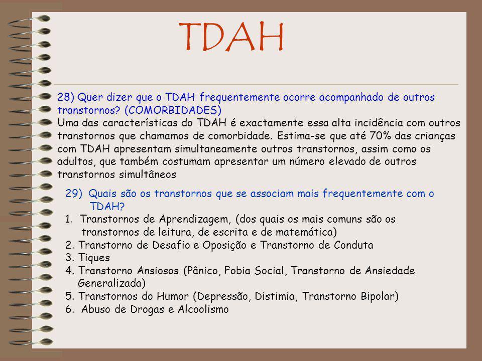 TDAH 28) Quer dizer que o TDAH frequentemente ocorre acompanhado de outros transtornos (COMORBIDADES)