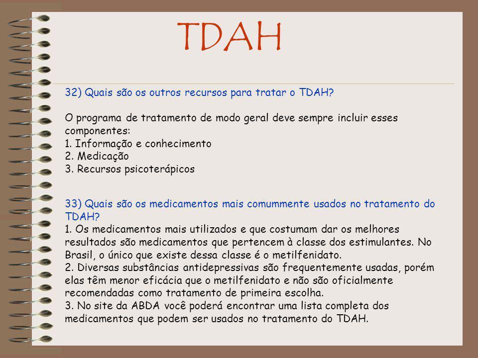 TDAH 32) Quais são os outros recursos para tratar o TDAH