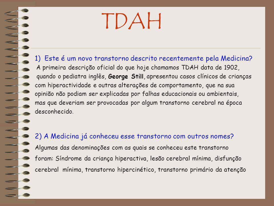 TDAH 1) Este é um novo transtorno descrito recentemente pela Medicina
