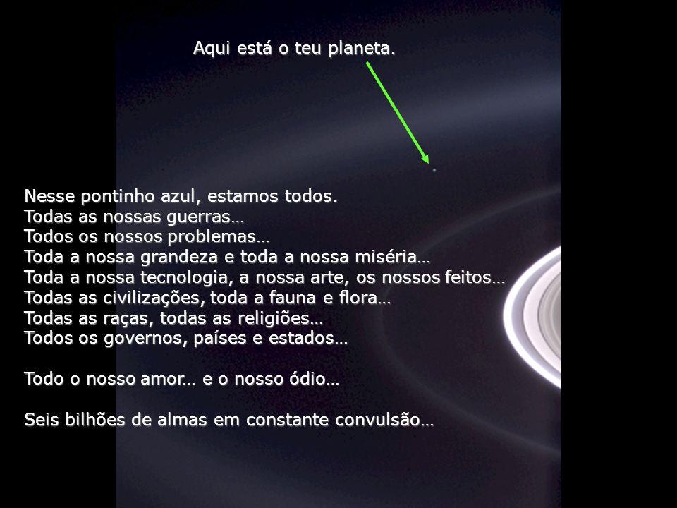 Aqui está o teu planeta. Nesse pontinho azul, estamos todos. Todas as nossas guerras… Todos os nossos problemas…