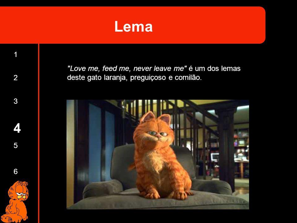 Lema 1. Love me, feed me, never leave me é um dos lemas deste gato laranja, preguiçoso e comilão.