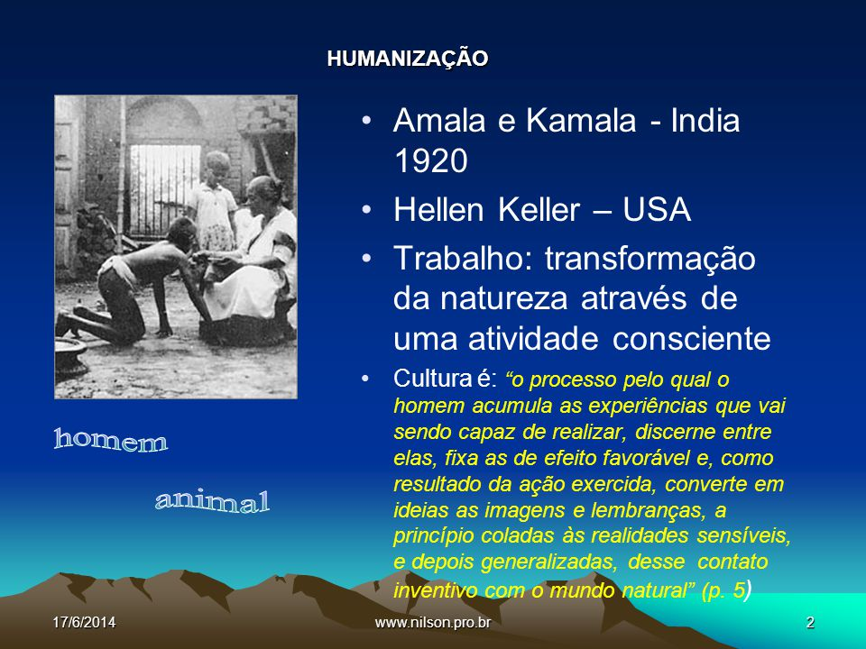 homem animal Amala e Kamala - India 1920 Hellen Keller – USA